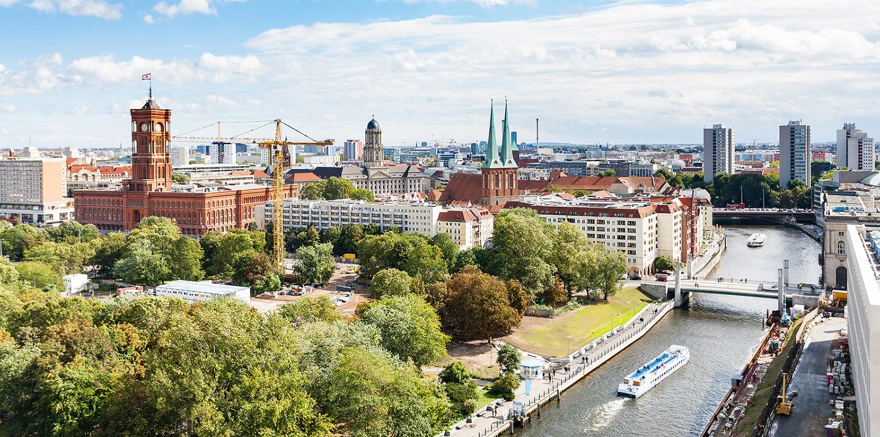 Panoramavy över centrala Berlin