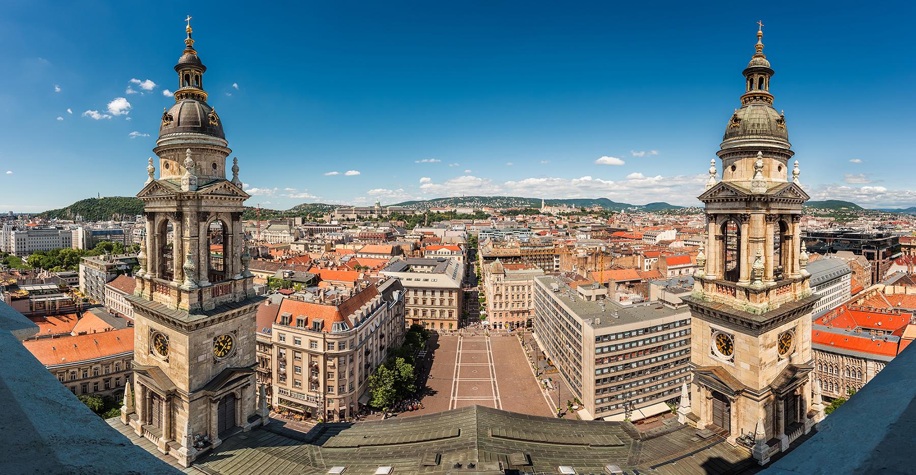 Panoramavy över centrala Budapest
